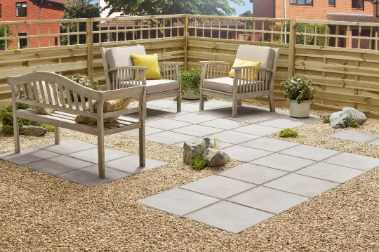 patio and gravel